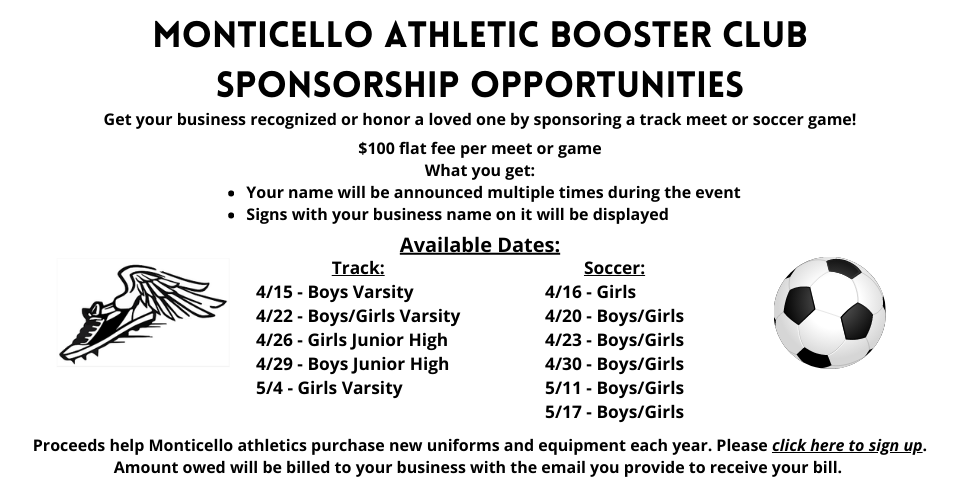 Monticello Athletic Booster Club Sponsorship Opportunities