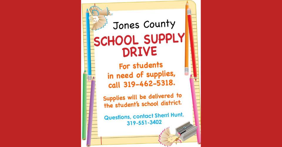 Jones County School Supply Drive Flyer